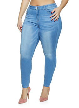 Plus Size WAX Mid Rise Skinny Jeans - 1870071619142
