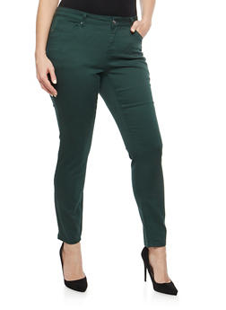 Plus Size WAX Push Up Solid Skinny Jeans - 1870071619310