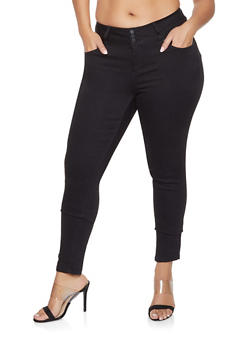 Plus Size WAX Three Button Push Up Jeans - 1870071619340