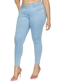Plus Size WAX Three Button Push Up Jeans - Blue - Size 14 - 1870071619340
