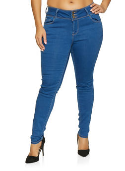 2777af4885d Plus Size WAX Three Button Push Up Jeans - 1870071619340