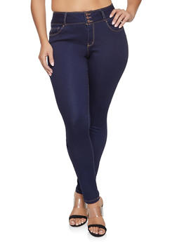 be8e7737367 Plus Size WAX Three Button Push Up Jeans - DARK WASH - 1870071619340