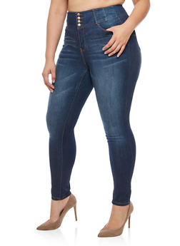 Plus Size WAX 4 Button High Waisted Push Up Jeans - 1870071619360