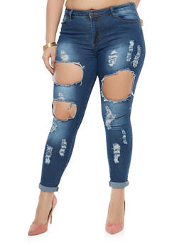 Plus Size Destroyed Skinny Jeans - 1870072290366