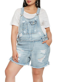 Plus Size Almost Famous Distressed Shortalls - 1871015990019