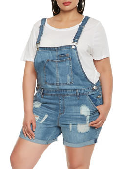 Plus Size Almost Famous Frayed Shortalls - 1871015990020