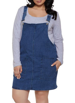 Plus Size Almost Famous Striped Denim Overall Dress - 1871015990081