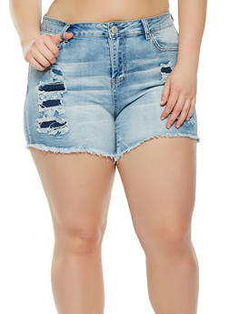 Plus Size Almost Famous Ripped Denim Shorts - 1871015990127