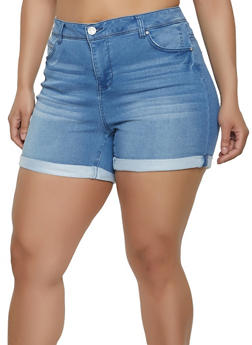 Plus Size Almost Famous Fixed Cuff Denim Shorts - Blue - Size 18 - 1871015990230