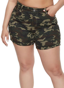 Plus Size Almost Famous Camo Denim Shorts - 1871015990245