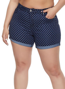 Plus Size Dot Print Shorts