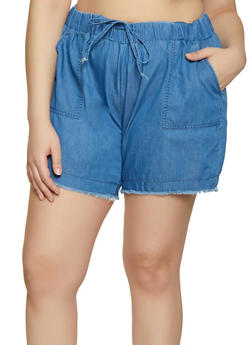 Plus Size Almost Famous Frayed Chambray Shorts - 1871015990290