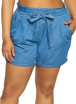 Plus Size Almost Famous Pleated Chambray Shorts - 1871015990293