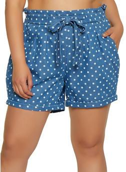 Plus Size Polka Dot Chambray Shorts - 1871015990294
