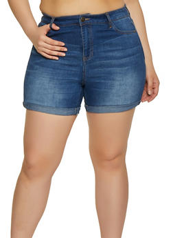 Plus Size Almost Famous High Rise Shorts - 1871015990321