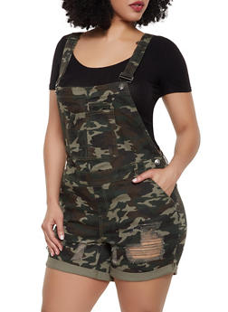Plus Size Almost Famous Denim Camo Shortalls - 1871015990858