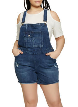 Plus Size Almost Famous Frayed Denim Shortalls - 1871015999815