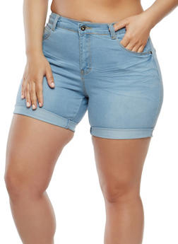 Plus Size Frayed Denim Shorts - 1871041759603