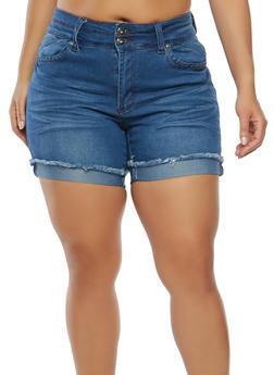 Plus Size Frayed Denim Shorts - 1871041759603