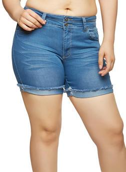 Plus Size Whisker Wash Denim Shorts - 1871041759607