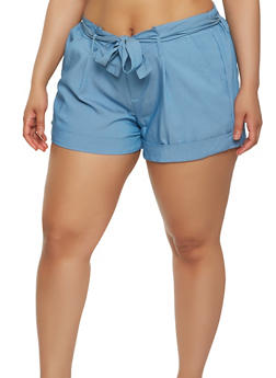 Plus Size Tie Belt Chambray Shorts - 1871056574167