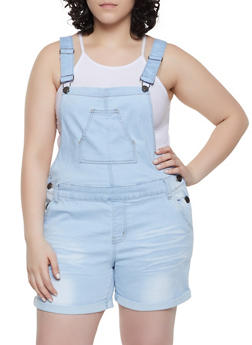 Plus Size VIP Fixed Cuff Denim Shortalls - 1871065309399