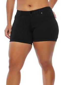 Plus Size Stretch Push Up Shorts - 1871068190197