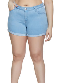 Plus Size WAX Fixed Cuff Denim Shorts - 1871071610027