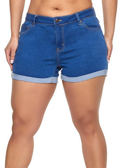 Plus Size WAX Fixed Cuff Denim Shorts - 1871071610027
