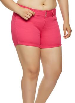 Plus Size Colored Push Up Shorts - 1871071610070