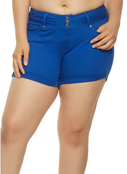 Plus Size Colored Push Up Shorts - 1871071610070