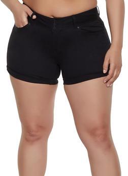 Plus Size WAX 3 Button Denim Shorts - 1871071610072