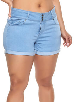 Plus Size WAX Push Up Denim Shorts | Light Wash - 1871071610099