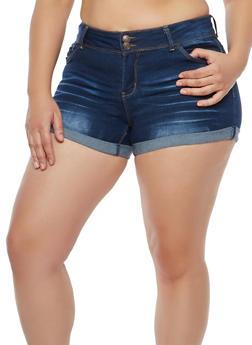 Plus Size WAX 2 Button Push Up Denim Shorts - 1871071610108