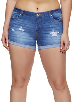 Plus Size WAX Fixed Cuff Jean Shorts - 1871071610111