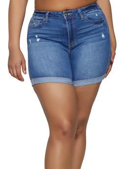Plus Size WAX Fixed Cuff Bermuda Jean Shorts - 1871071610145