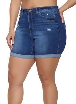 b1e1aecc7b Plus Size WAX Fixed Cuff Bermuda Jean Shorts - 1871071610145