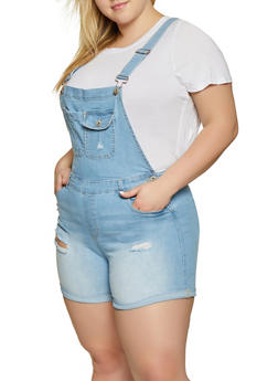Plus Size WAX Frayed Denim Shortalls - 1871071610147