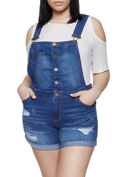da1220cab Plus Size WAX Button Front Denim Shortalls - 1871071610148