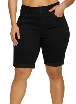 Plus Size WAX Denim Push Up Bermuda Shorts - 1871071610152