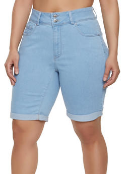 bc04c873a7 Plus Size WAX Denim Push Up Bermuda Shorts - 1871071610152