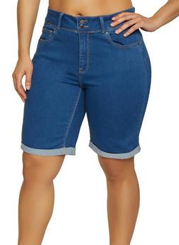 75f1d3e98e7 Plus Size WAX Denim Push Up Bermuda Shorts - 1871071610152