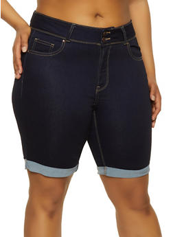 Plus Size WAX Denim Push Up Bermuda Shorts - 1871071610152
