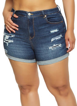 Plus Size WAX Patch and Repair Denim Shorts - 1871071610236