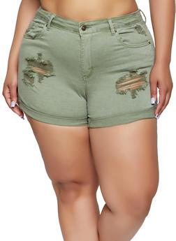 Plus Size WAX Distressed Fixed Cuff Denim Shorts - 1871071610237