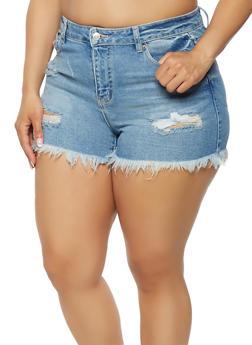 Plus Size WAX Whisker Wash Denim Shorts - 1871071610244