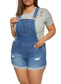 Plus Size WAX Denim Shortalls - 1871071610780