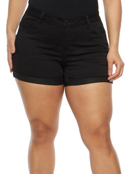 Plus Size WAX Push Up Denim Shorts - 1871071610926