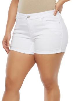 Plus Size WAX Push Up Denim Shorts - 1871071610926
