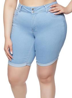 Plus Size WAX Fixed Cuff Denim Bermuda Shorts - 1871071612510